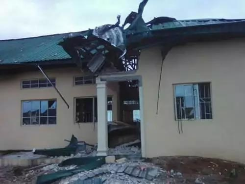 Photos: Bomb blast rocks Isoko House in Oleh, Delta State