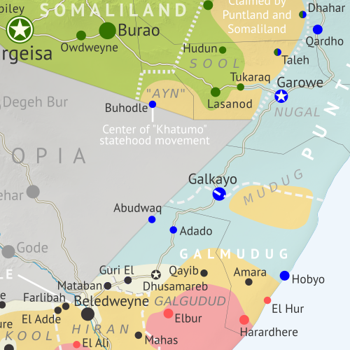 Who controls Somalia? Map (May 2020). With states, regions, and territorial control. Best Somalia control map online, thoroughly researched, detailed but concise. Shows territorial control by Federal Government of Somalia (FGS), Al Shabaab, so-called Islamic State (ISIS/ISIL), separatist Somaliland, and autonomous states Puntland and Galmudug, plus boundaries of federal states Jubaland, South West, and Hirshabelle. Now labels state capitals and disputed boundaries between Somaliland and Puntland. Updated to May 20, 2020. Colorblind accessible.