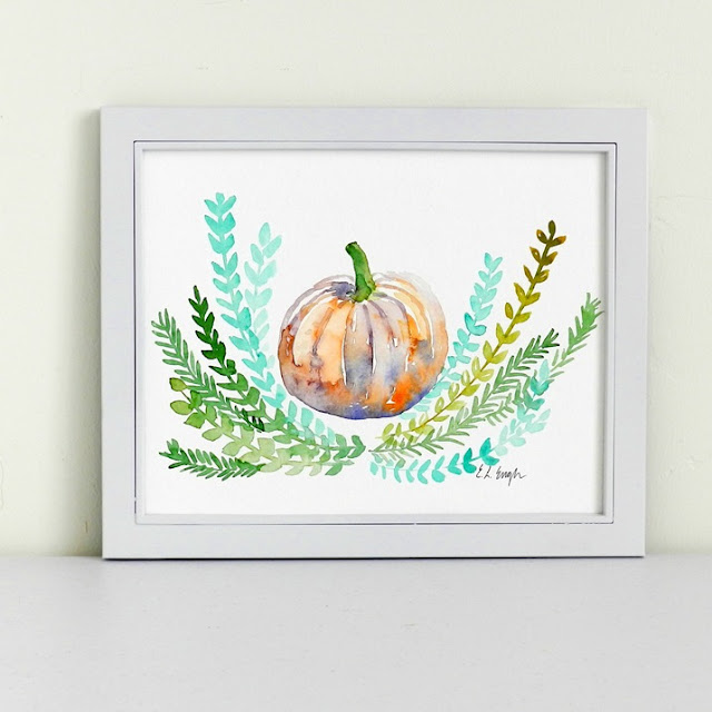 Watercolor Pumpkin and Ferns Painting by Elise Engh- Grow Creative Blog