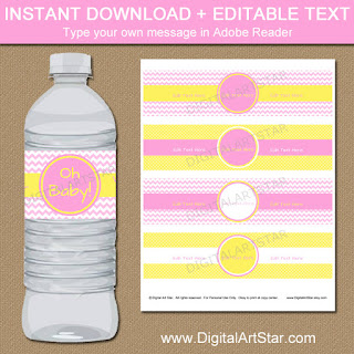 pink and yellow baby shower water bottle labels - perfect for a girl baby shower or girl birthday