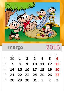 Calendário Turma da Mônica 2016 Março