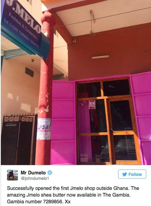 John Dumelo opens J.Melo fashion & cosmetics shop in Gambia