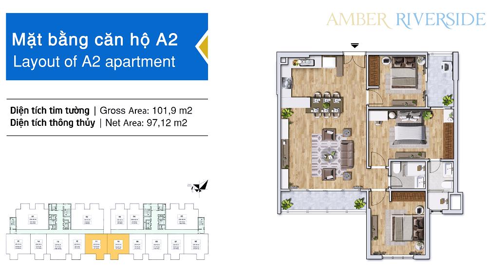 Thiết kế căn hộ A2 dự án chung cư Amber Riverside