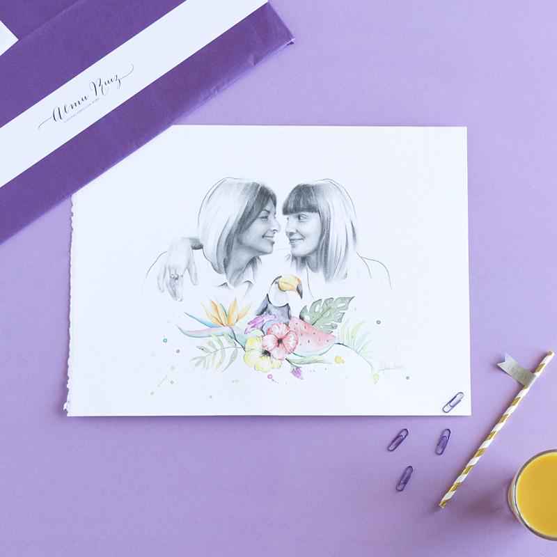 Retrato especial de pareja dibujado a lápiz y acuarela