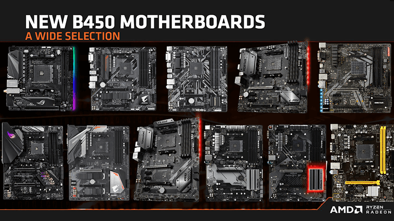 The different AMD B450 motherboards