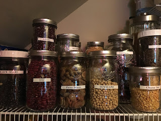 Jars of dried legumes from zero waste vegan pantry https://trimazing.com