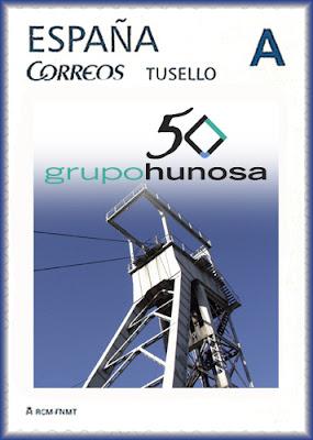 Sello personalizado del 50 aniversario de HUNOSA