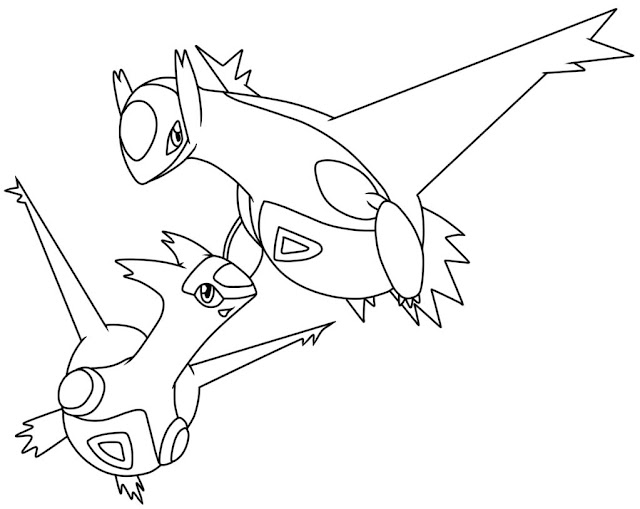 Latias and Latios legendary pokemon coloring pages