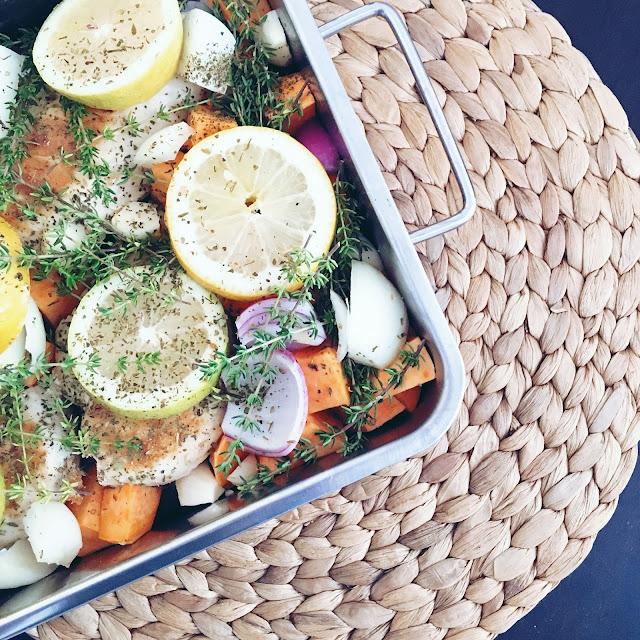 Rezept, koch mit, zitronenhuhn, süßkartoffel, low carb, lecker