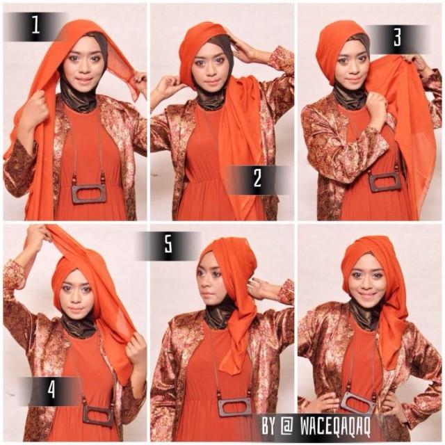 tutorial hijab segitiga style 1