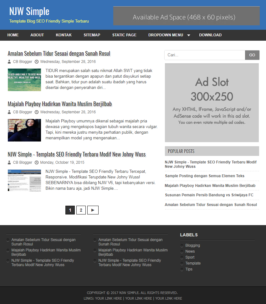 Njw simple seo fast responsive blogger template template blog kau pronofoot35fo Images