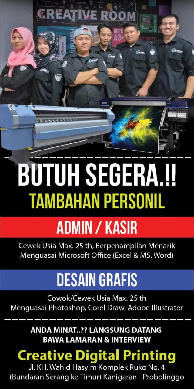 Info Lowongan Kerja, Dibutuhakan Segera Admin/ Kasir, Desain Grafis