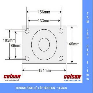 Bảng vẽ kích thước tấm lắp bánh xe PU công nghiệp chịu tải trọng nặng 1,575kg | 7-12678-979
