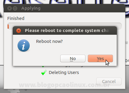 """Clique em """"Yes"""" para reiniciar o seu computador"""