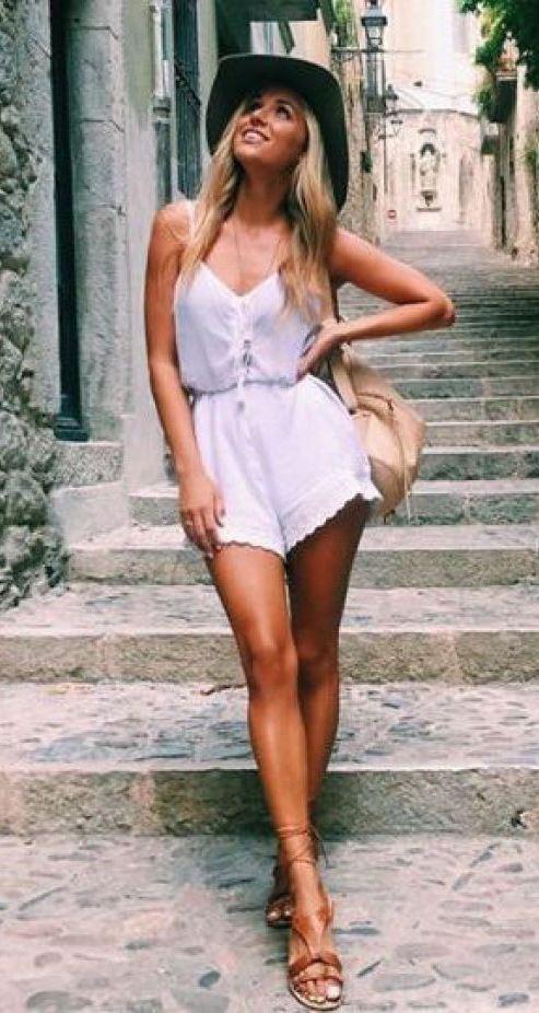 cute summer outfit / bag + sandals + white jumpsuit + hat