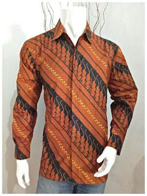 Kemeja Batik Pria Sogan Batik Solo Motif Parang