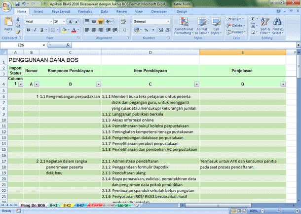 Aplikasi RKAS 2016 Disesuaikan dengan Juknis BOS Format Microsoft Excel