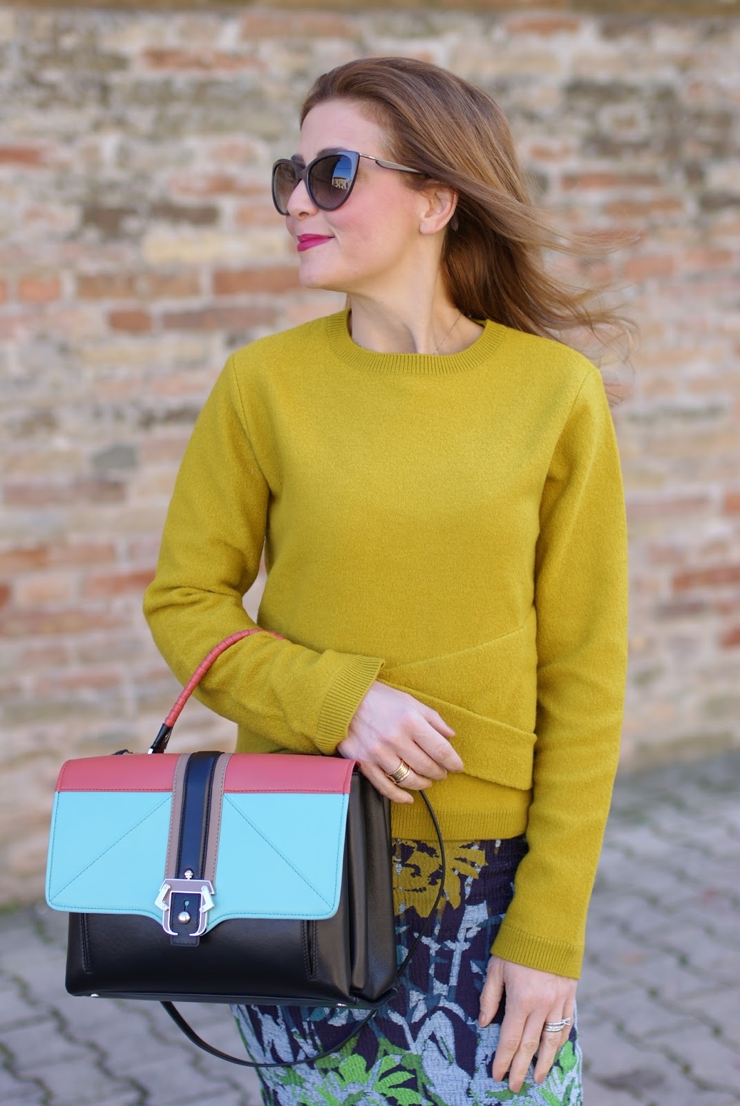 COS yellow sweater and floral midi pencil skirt on Fashion and Cookies fashion blog, fashion blogger style