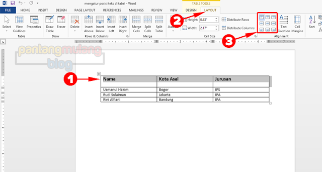 Mengatur Posisi Tulisan pada Tabel Microsoft Word