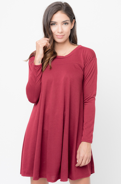 Buy Solid A-Line Tunic Dress Online @ caralase.com