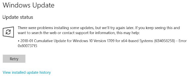 Windows 10 KB4058258 Fails To Install (0x80073715)