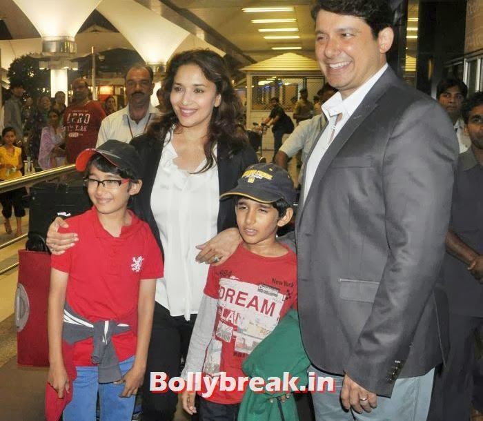Raayan Nene, Madhuri Dixit, Arin Nene, Sriram Madhav Nene, New Year Celebrations: Various Celebs Snapped at Airport
