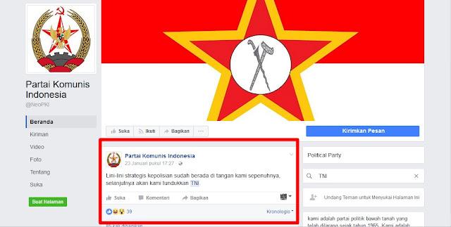 Heboh, Muncul Akun Facebook PKI yang Ancam Akan Menundukan TNI