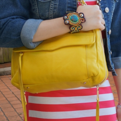AwayFromTheBlue | Rebecca Minkoff Swing bag in canary yellow with studded beaded statement cuff