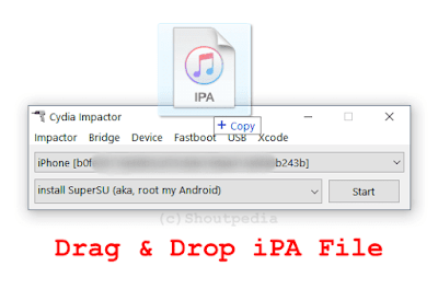 Drag and drop IPA file