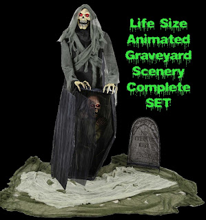 Life Size GRAVEYARD REAPER ANIMATED PROP Talking LED Zombie-SET