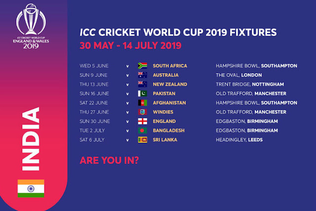 India schedule of World Cup 2019 matches