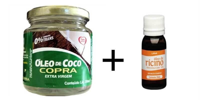 Umectação com óleo de coco e rícino