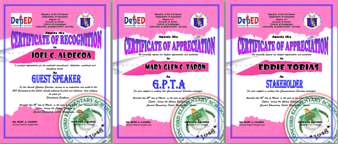 Graduation program cert of recognition deped lps pink certificate of recognition sample template yelopaper Images