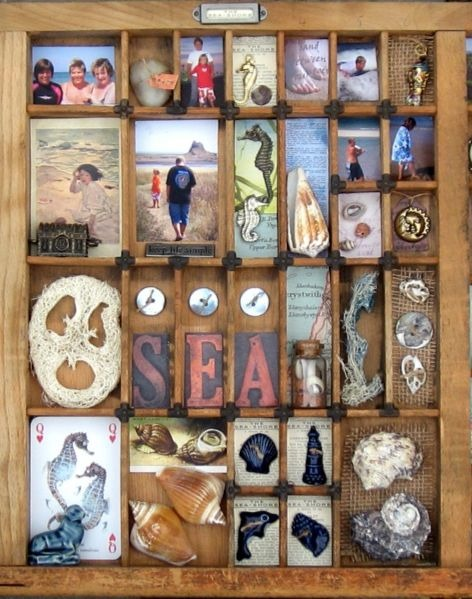 Antique Printer Tray Ideas with Shells