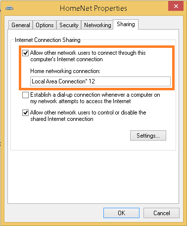 share hotspot connection