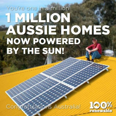 1 million Australian homes powered by solar power