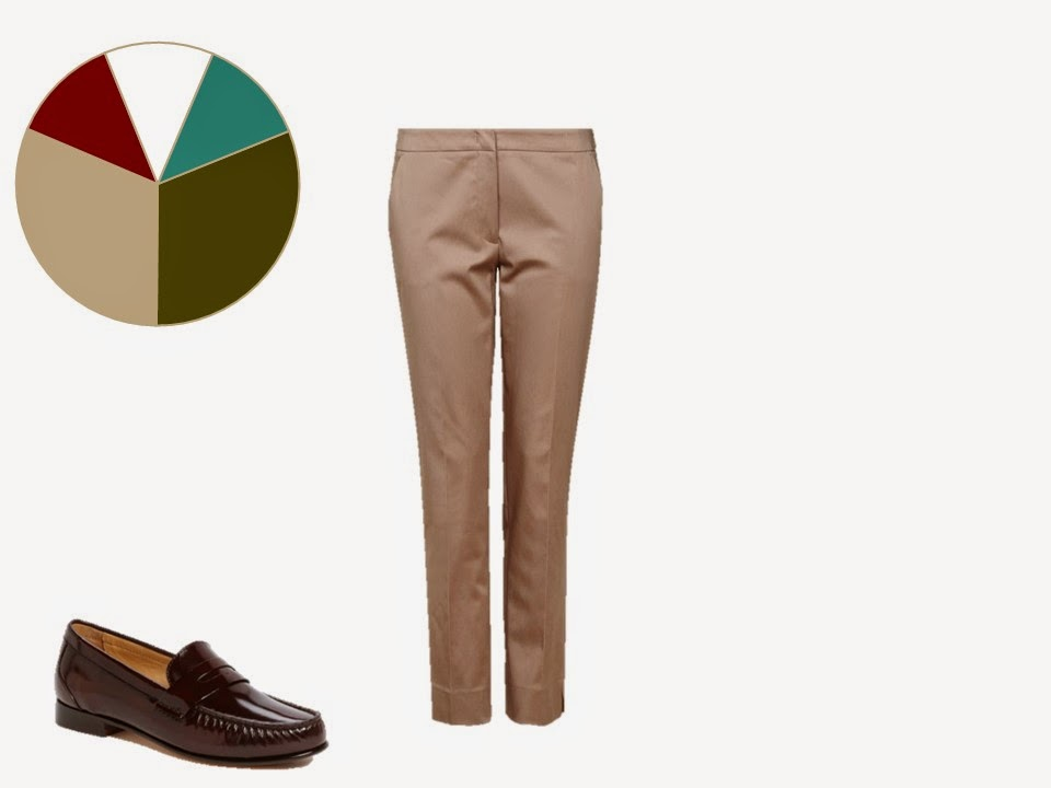 khaki women's trousers with classic brown penny loafers