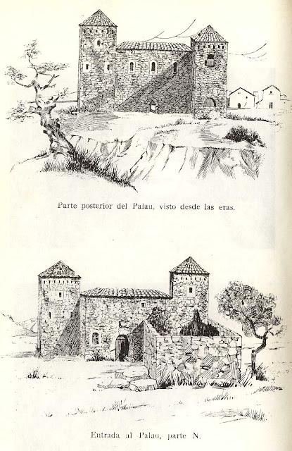 Palau , Beceite , vista posterior, delantera, eras, dibujo antiguo