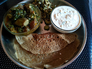 Pearl millet instant dosa, Paalak Brinjal curry, Bitter gourd poriyal, Coconut Chutney