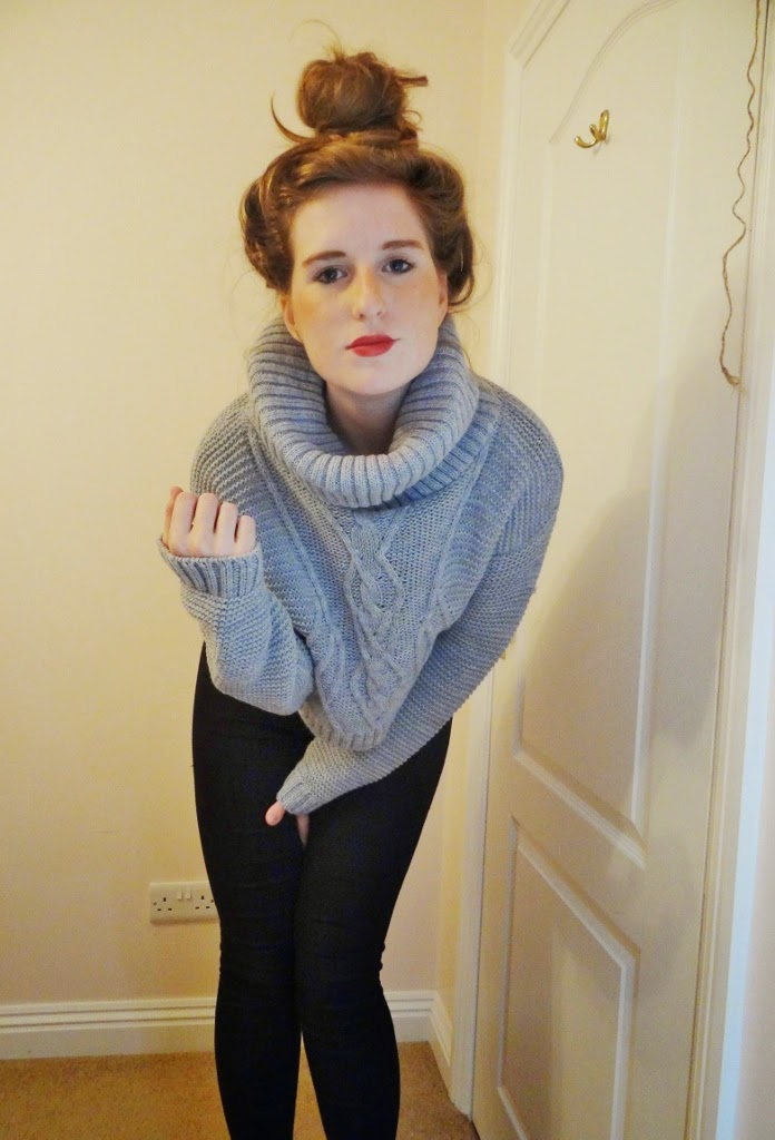 roll neck cable knit