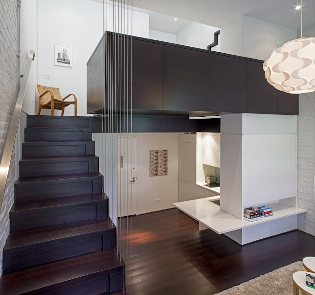 Two floors of modern apartment interiors