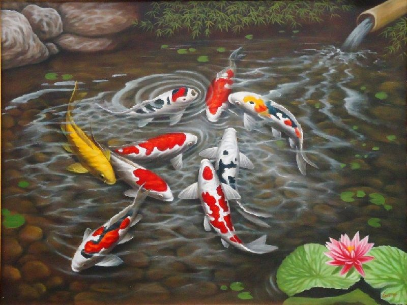 lukisan ikan koi 3d