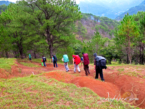 Group of mountaineers walking in line a Akiki trail going to Mt. Pulag