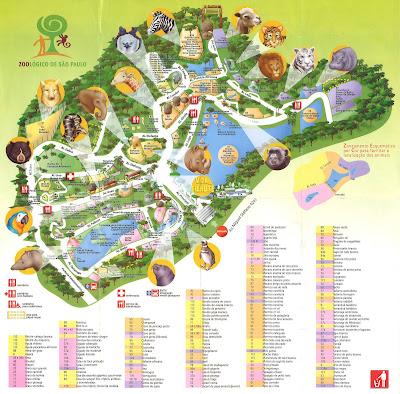 Mapa do zoológico de São Paulo