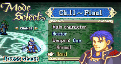 Fire Emblem Blazing Blade Game Boy Advance Hector Hard mode difficulty select Normal