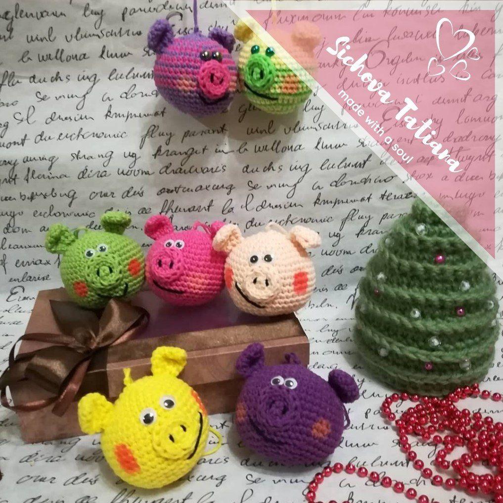 елочные игрушки свиношарики крючком схемы амигуруми