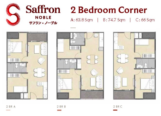 Floor plan Saffron Noble Sentul City Apartment Bogor 2BR Type