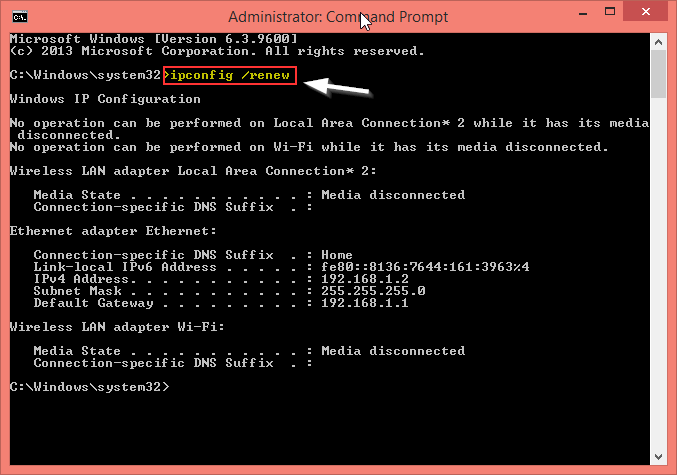 Release the Allocated Internet Protocols (IPs) using CMD Command