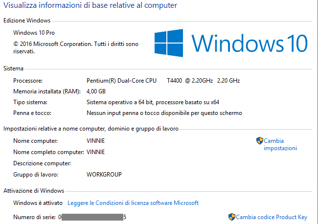 Windows finestra informazioni di sistema