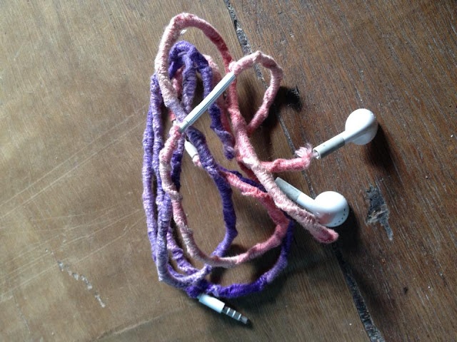 Old Earphone with crochet cover